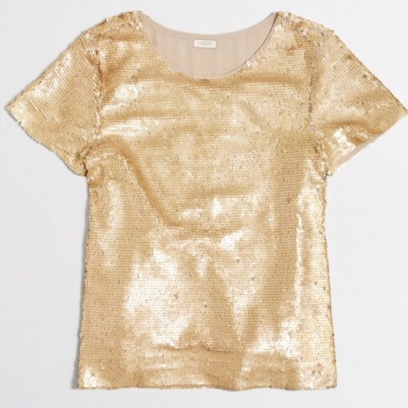 1030106ae J. Crew Factory Tops | J Crew Gold Sequin Tshirt Medium Sparkly Top ...